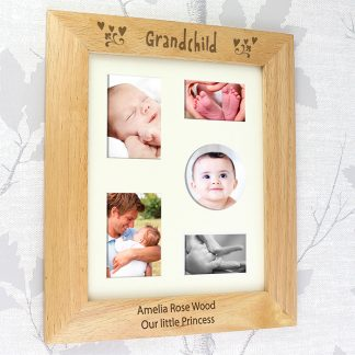 Personalised 10x8 Grandchild Wooden Photo Frame