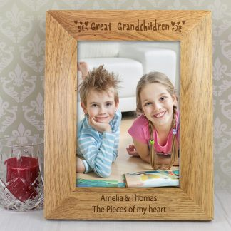 Personalised 7x5 Great Grandchildren Wooden Photo Frame