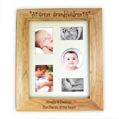 Personalised 10x8 Great Grandchildren Wooden Photo Frame