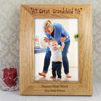 Personalised 7x5 Great Grandchild Wooden Photo Frame