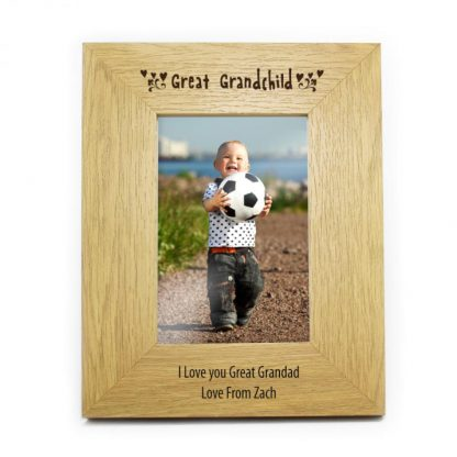 Personalised Oak Finish 6x4 Great Grandchild Photo Frame