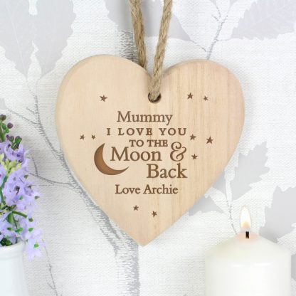 Personalised To the Moon and Back... Chunky Wooden Heart Decoration