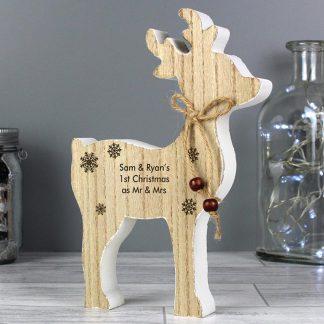 Personalised Rustic Wooden Reindeer Decoration