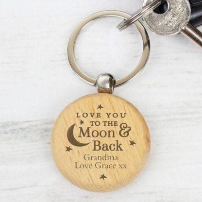 Personalised Moon & Back Wooden Keyring