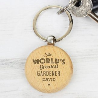 Personalised The World's Greatest Wooden Keyring