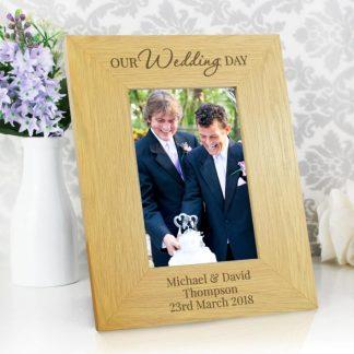Personalised 'Our Wedding Day' Oak Finish 4x6 Photo Frame