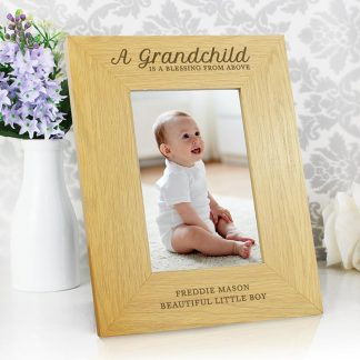 Personalised Oak Finish 4x6 'A Grandchild is a Blessing' Photo Frame