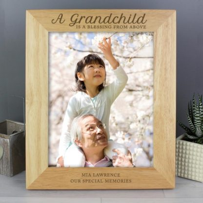 Personalised 'A Grandchild is a Blessing' 8x10 Wooden Photo Frame
