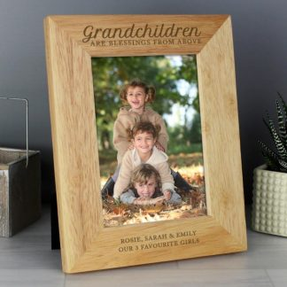 Personalised 'Grandchildren are a Blessing' 5x7 Wooden Photo Frame