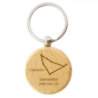Personalised Capricorn Zodiac Star Sign Wooden Keyring