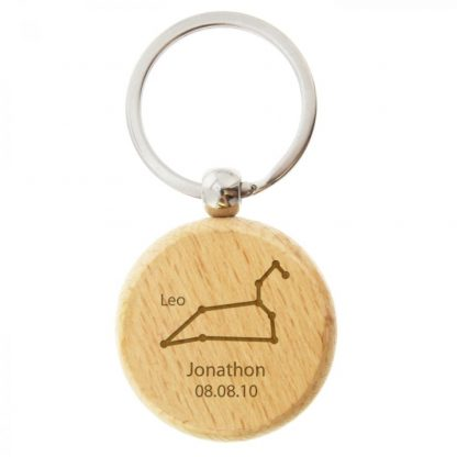 Personalised Leo Zodiac Star Sign Wooden Keyring