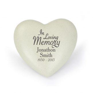 Personalised In Loving Memory Heart Memorial Stone