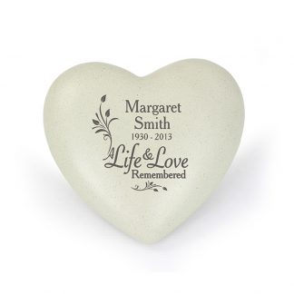 Personalised Life & Love Heart Memorial Stone