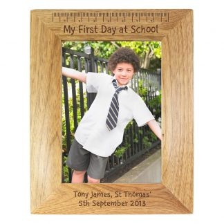 Personalised 7x5 First School Day Wooden Photo Frame