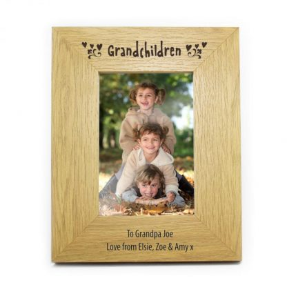 Personalised Oak Finish 6x4 Grandchildren Photo Frame