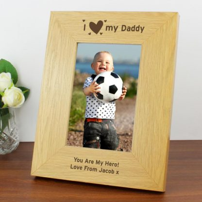 Personalised Oak Finish 6x4 I Heart My Photo Frame