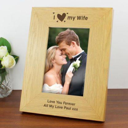 Personalised Oak Finish 6x4 I Heart My Photo Frame