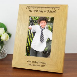 Personalised Oak Finish 6x4 My First Day at School Photo Frame