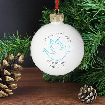 Personalised In Loving Memory Blue Dove Bauble