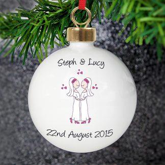 Personalised Female Cartoon Couple Wedding & Civil Partnership Bauble
