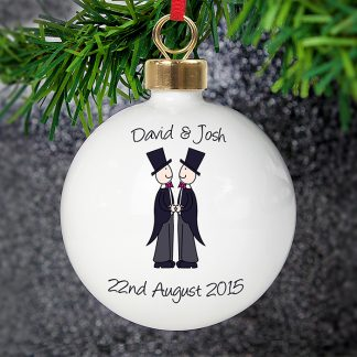 Personalised Male Cartoon Couple Wedding & Civil Partnership Bauble