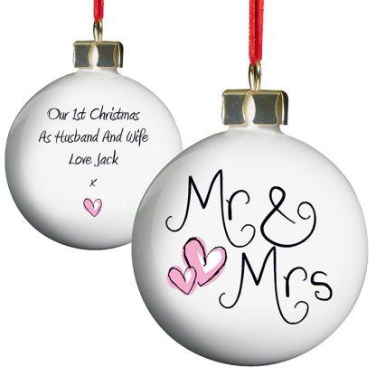 Personalised Mr & Mrs Ceramic Bauble