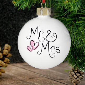 Personalised Mr & Mrs Ceramic Bauble