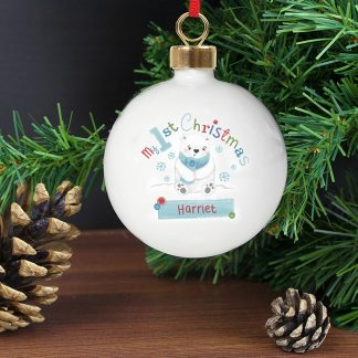 Personalised Polar Bear My 1st Chistmas Bauble