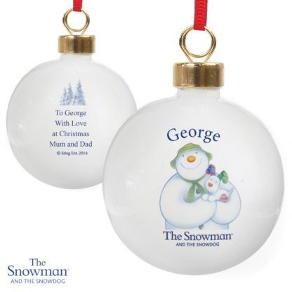 Personalised The Snowman & The Snowdog Bauble