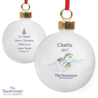 Personalised The Snowman & The Snowdog Flying Bauble