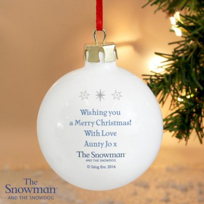 Personalised The Snowman & The Snowdog Christmas Bauble