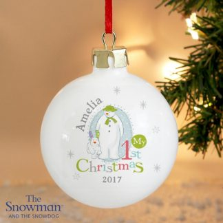 Personalised The Snowman & The Snowdog My 1st Christmas Bauble