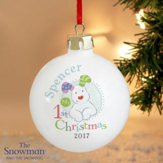 Personalised The Snowman & The Snowdog My 1st Christmas Blue Bauble