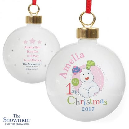 Personalised The Snowman & The Snowdog My 1st Christmas Pink Bauble