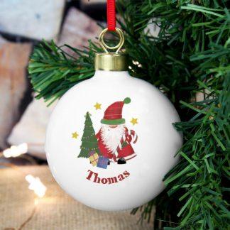Personalised Tartan Santa Bauble