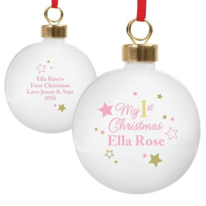 Personalised Pink & Gold Stars My 1st Christmas Bauble