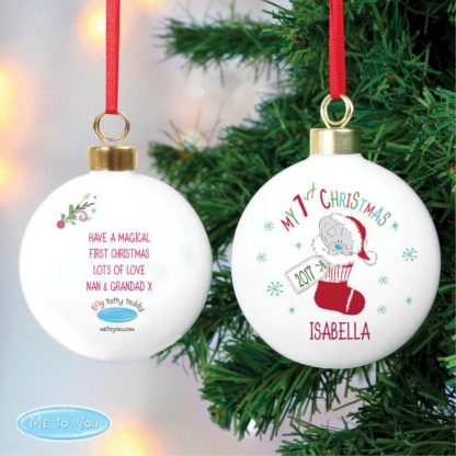 Personalised Tiny Tatty Teddy My 1st Christmas Stocking Bauble