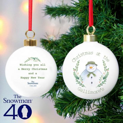 Personalised The Snowman Winter Garden Bauble