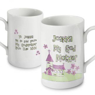 Personalised Whimsical Church Godmother Slim Mug