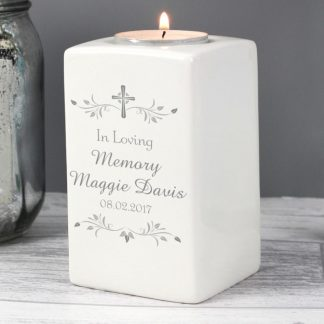 Personalised Sentiments Ceramic Tea Light Candle Holder