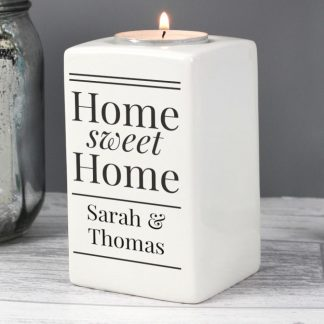Personalised Home Sweet Home Tea Light Candle Holder