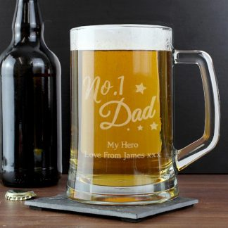 Personalised 'No.1 Dad' Glass Pint Stern Tankard