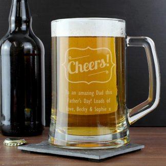 Personalised Cheers Glass Pint Stern Tankard