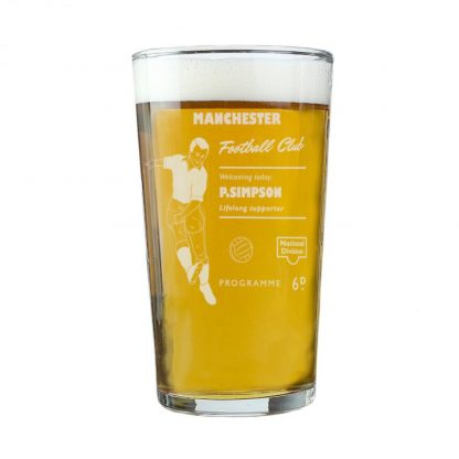 Personalised Vintage Football Supporter's Pint Glass