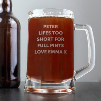 Personalised Stern Half Pint Glass Tankard