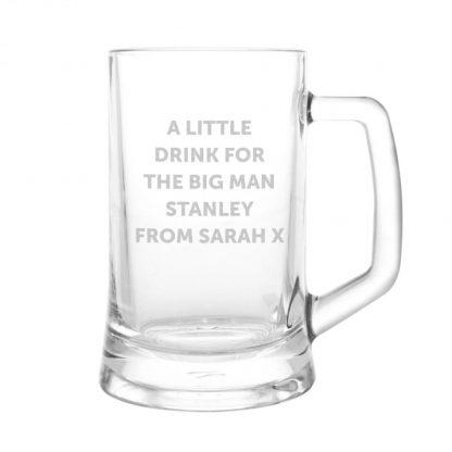 Personalised Stern Half Pint Glass Tankard