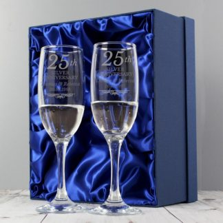 Personalised Silver Anniversary Pair of Flutes With Gift Box