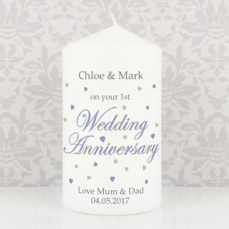 Personalised Wedding Anniversary Candle