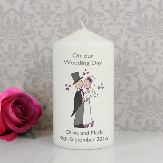 Personalised Cartoon Couple Wedding Day Candle