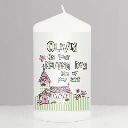 Personalised Pink Whimsical Church Candle